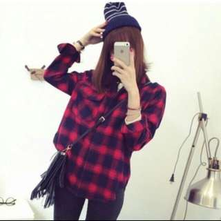 Cherkered Plaid Flannel Shirt (red or black)