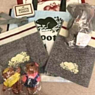 全新🍁ROOTS🍁SVIP購物袋、手提袋  灰白海狸(小)