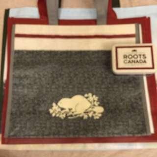 全新🍁ROOTS🍁🌿SVIP灰白海狸 購物袋 手提袋 (大)