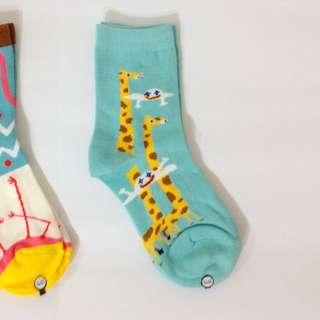 中長襪 可愛動物區 長頸鹿到天上囉 全新品