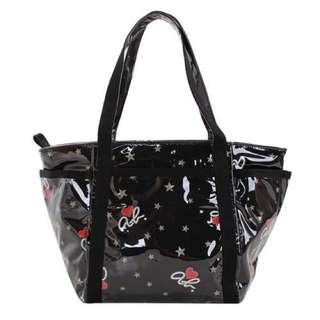 「搬家出清,只賣到4月底」超低價對折再對折Agnes. b日本限定 星型愛心草寫logo 防水肩背托特包 黑色
