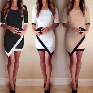 黑白緊身洋裝貼身性感歐美街拍長袖不規則下擺撞色幾何