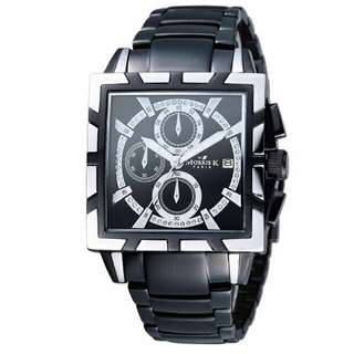 (含運)MORRIS K 精武門 SHOW個性 黑鋼腕錶 MK09011-WJ21/三眼計時碼錶