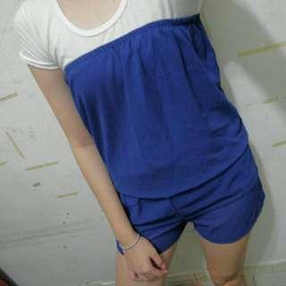 寶藍色平口雪紡連身褲