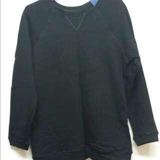 H-ZOo 黑色領口單寧布料拼接大學Tee~M號