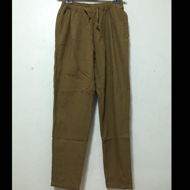 草綠色 麻質長褲