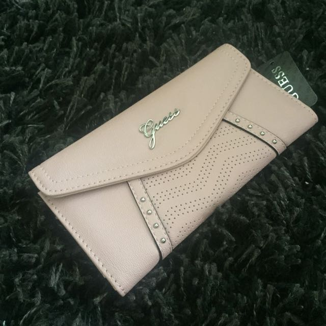 [Brand New] Guess Tahlia Perforated Slim Wallet In Rose Color