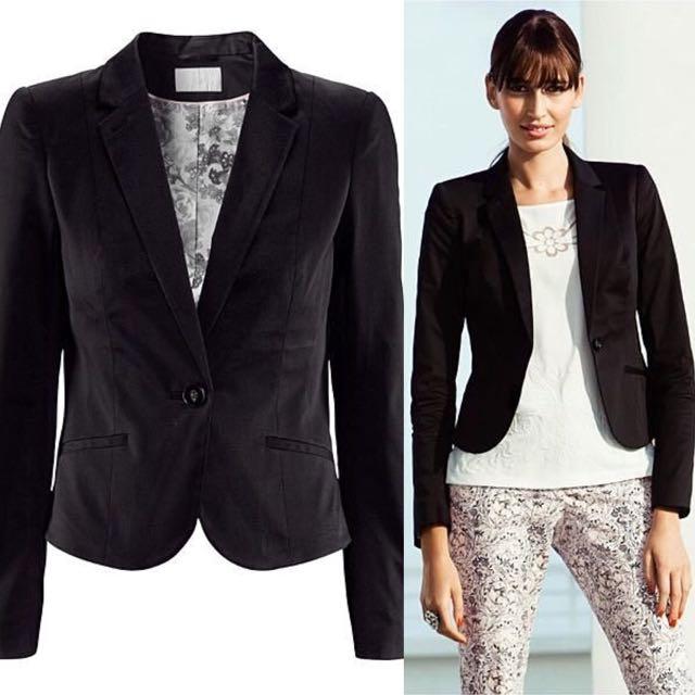 H&M 黑色合身窄版西裝外套 Size 36, 38 特價