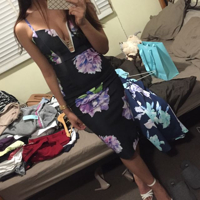 [Out All Night] Midi Black Floral Dress