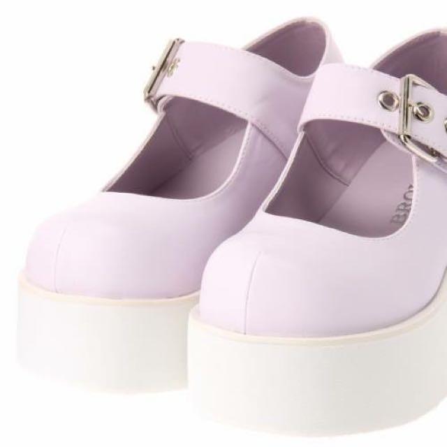 WEGO原宿厚底大頭鞋粉紫23.5cm
