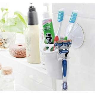 白色魔力吸盤牙刷筒