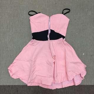 粉橘彈性洋裝