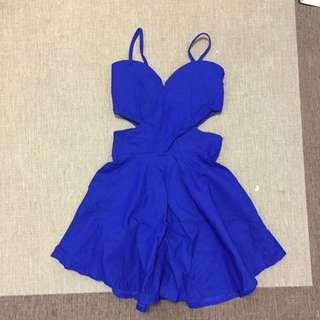 寶藍露腰彈性洋裝