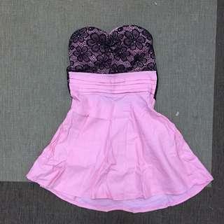 粉紅黑蕾絲平口彈性洋裝