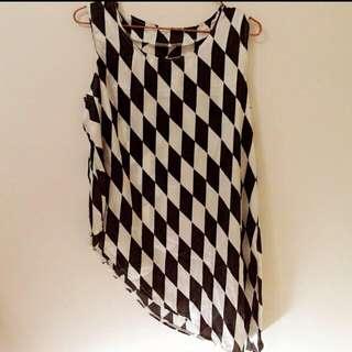黑白方格斜邊長上衣