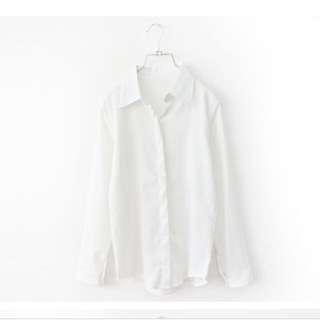 保留中👉 素面彈性白襯衫