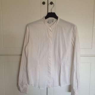 全白長袖襯衫