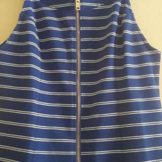 Blue & White Dress With Zip And Ruffle