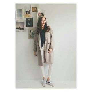 韓版oversize雙排釦大衣