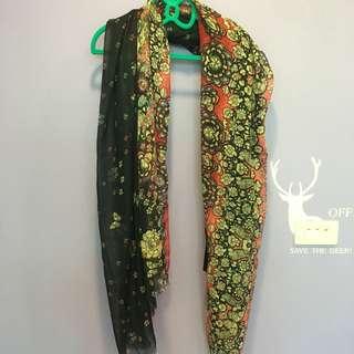 ✭免運✭全新很漂亮的花樣圍巾(吊牌未拆)