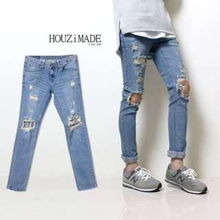 【HOUZi限定款】膝蓋大破洞牛仔褲 GD款【 M0041】