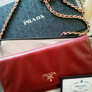 Prada Wallet on Chain  REDUCED PRICE! 100% AUTHENTIC