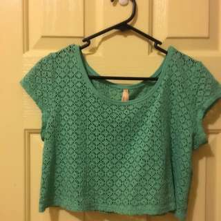 Cropped Green Crochet Top