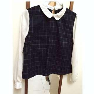 氣質學院風 格子雪紡襯衫/上衣
