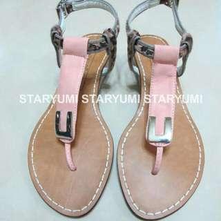 轉賣 韓貨 豹紋 低根 平底 涼鞋24.5-25號可穿