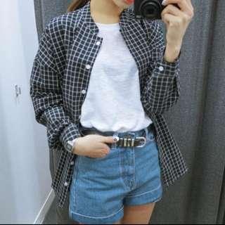 Cindy Blue Checkered Oversized Shirt