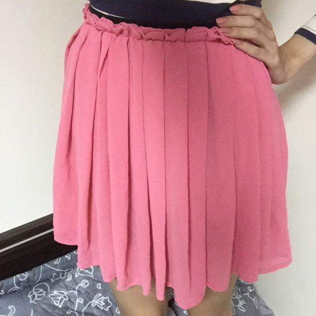 二手面交!粉紅雪紡百褶裙200元