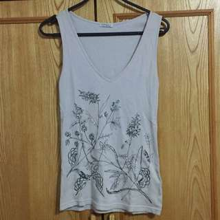 TOPSHOP Grey Embroidered Tank