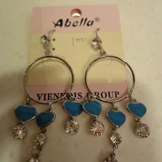 藍色愛心垂釣耳環