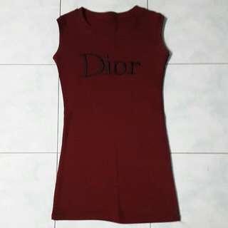DIOR wording Maroon Long Top / Mini Dress