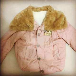 淺粉色短版保暖外套
