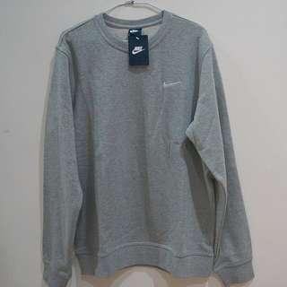 NIKE 素面 Nike大學T灰色 電繡小勾基本款衛衣(XL)