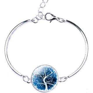 🚚 [In Stocks] Glass Cabochon Bangle - Tree Of Life