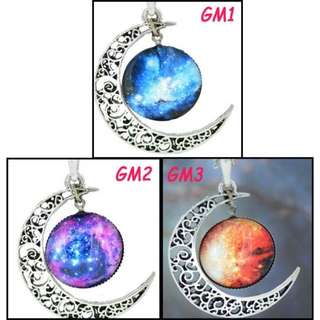 🚚 [In Stocks] Glass Cabochon Necklace - Galaxy (Moon)