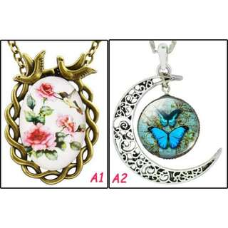 🚚 [In Stocks] Glass Cabochon Necklace - Vintage Artistic