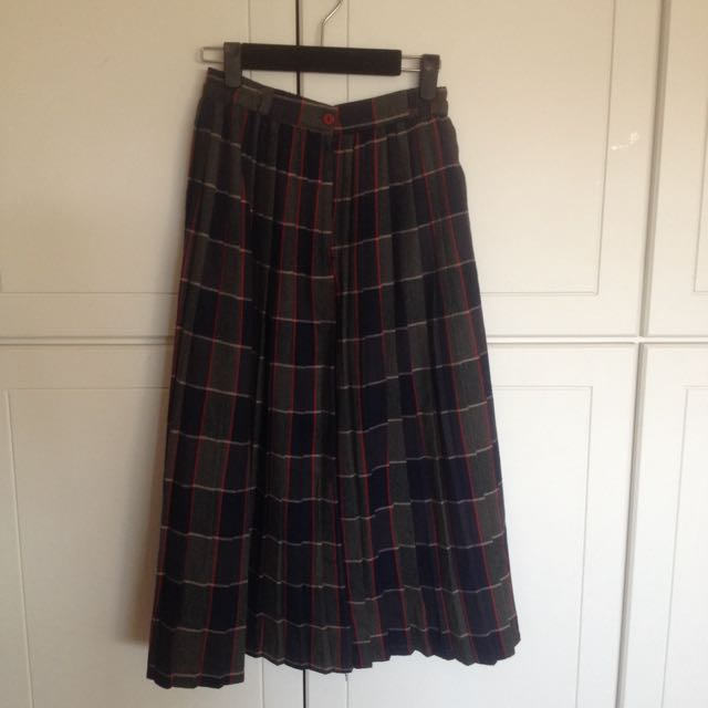 格紋百折長裙