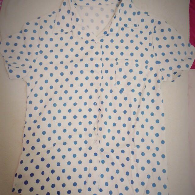 (全新)藍色點點襯衫