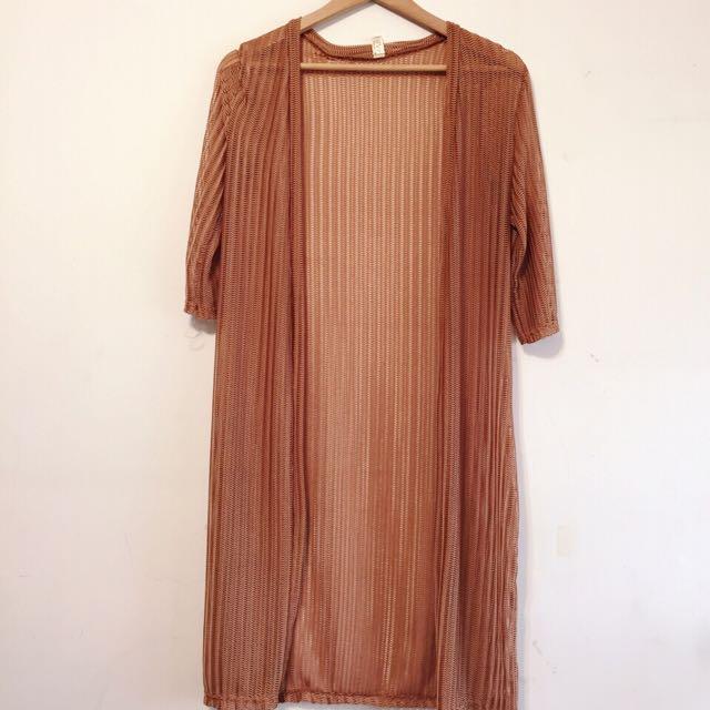 針織網狀微透長版罩衫