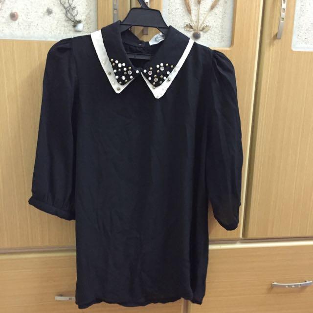 黑色氣質雪紡六分袖上衣
