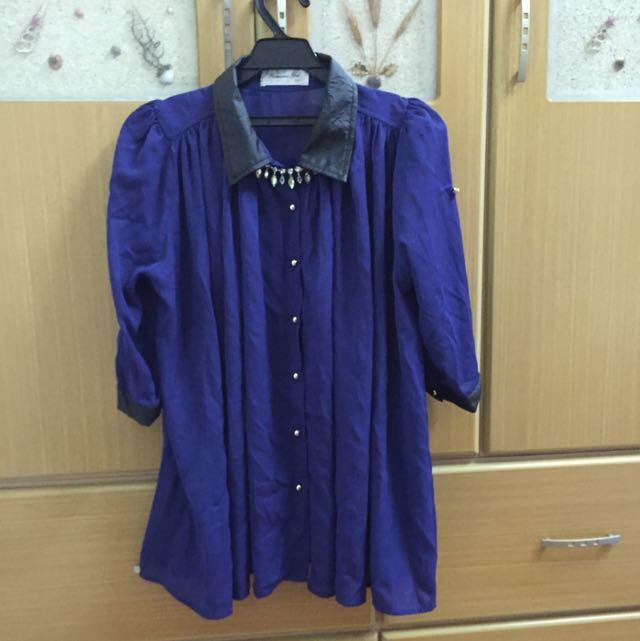 深藍色雪紡七分袖上衣
