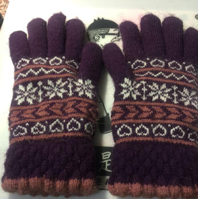 編織保暖手套(內刷兔毛)