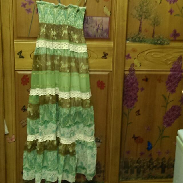 (二手)綠色波希米亞風長裙