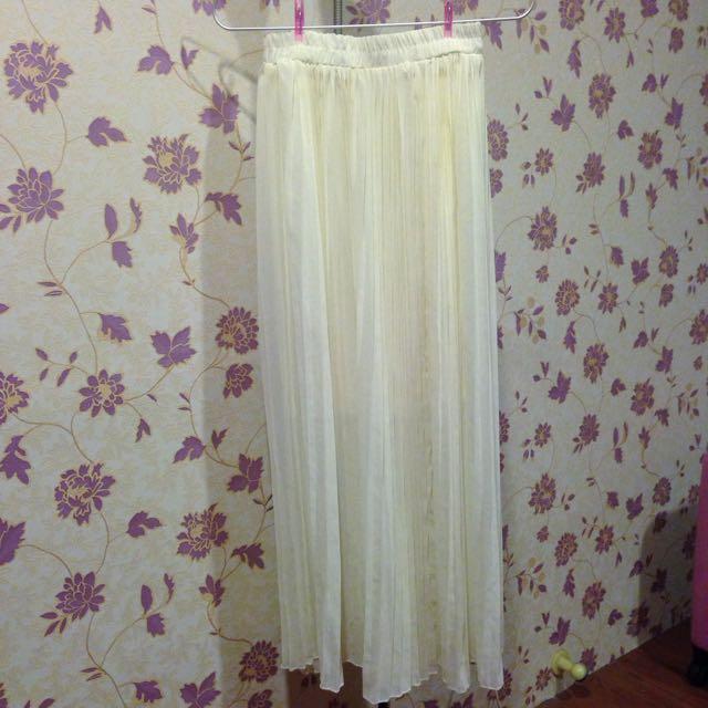 全新💕白色百褶雪紡紗裙 長裙