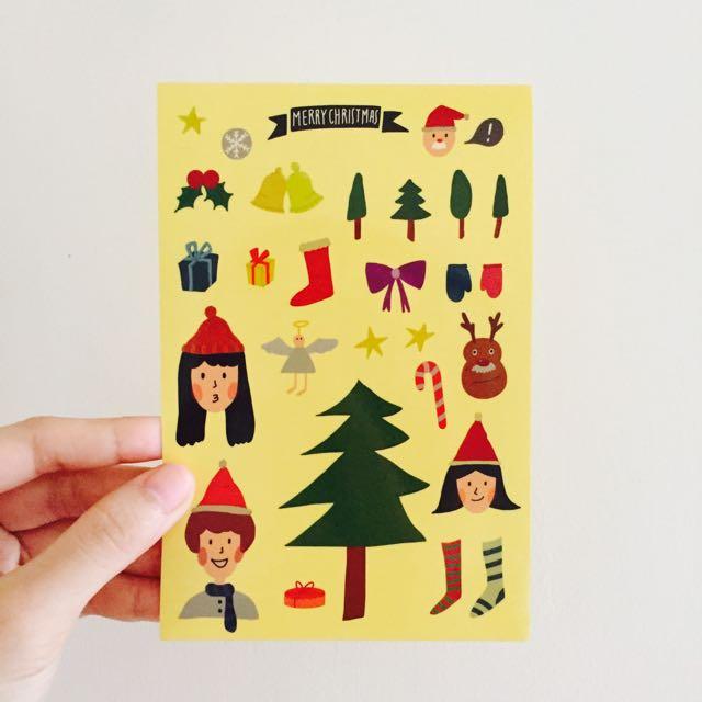 聖誕節手繪貼紙 DIY剪裁