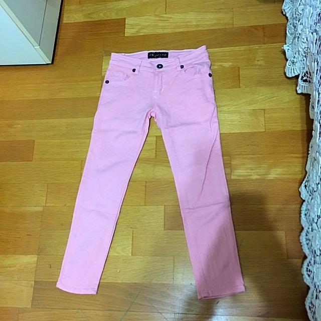 粉色八分褲 S