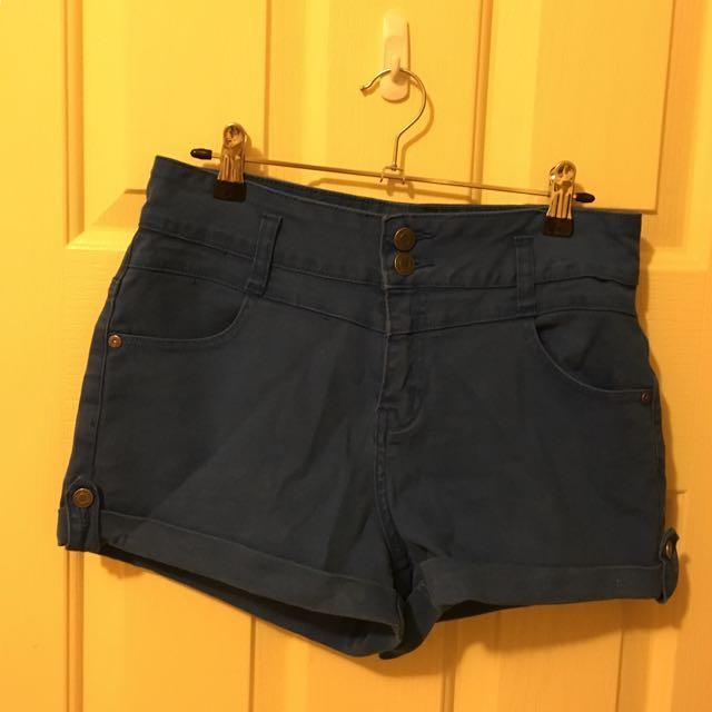 Blue Wash Denim Shorts
